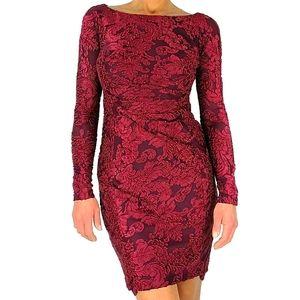 LAUREN Ralph Lauren Jacquard Dress Size 2 Deep Red